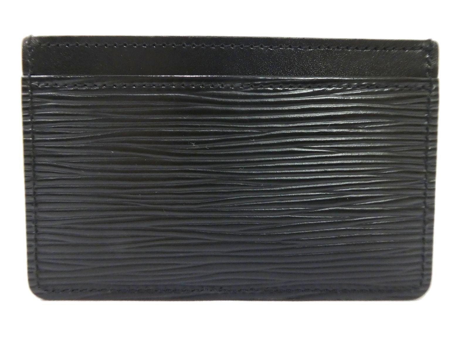 f7a2d87338359 Details about Auth LOUIS VUITTON Epi Leather Pass Case Card Holder Black  Unused A1478